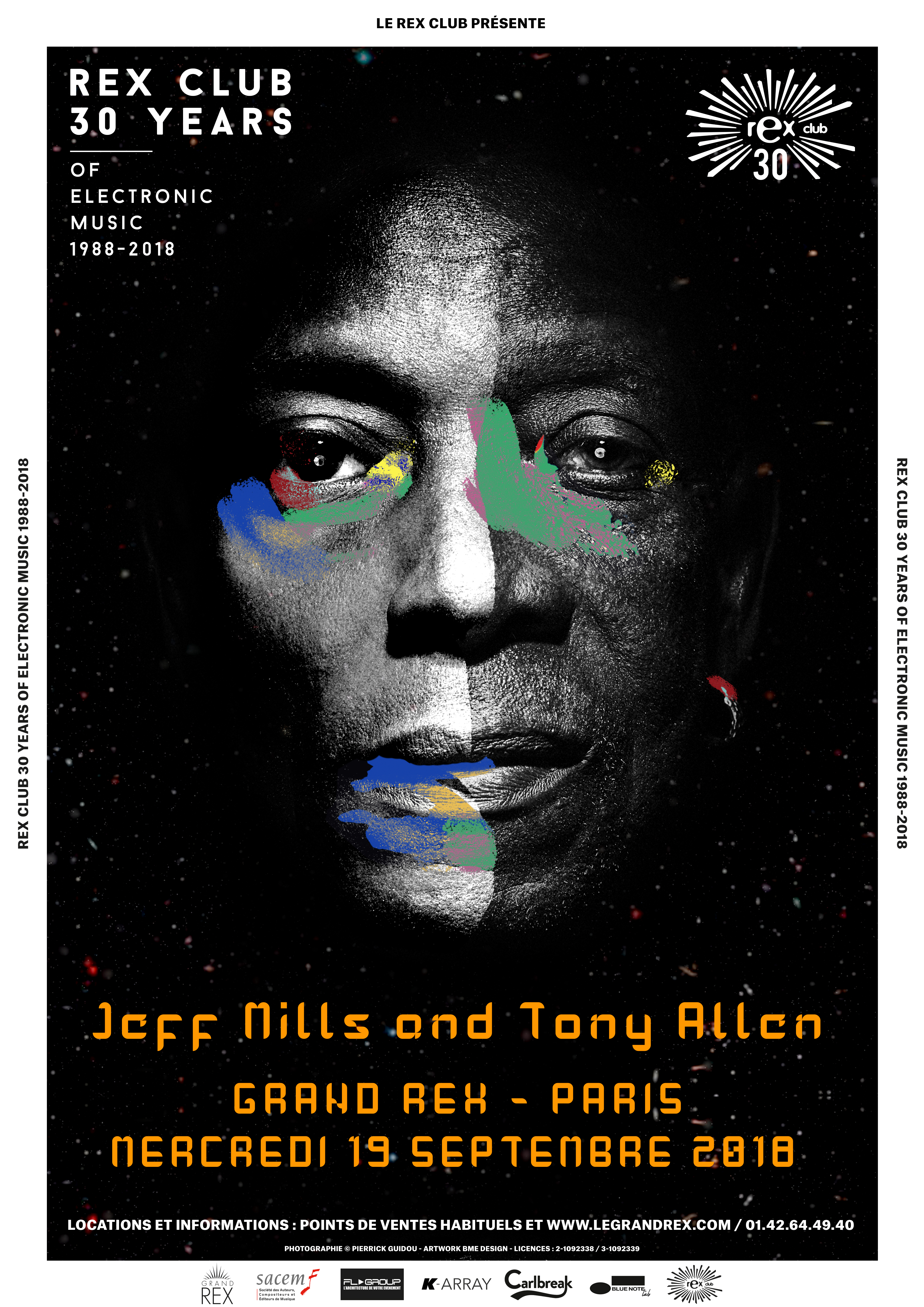 RexClub30_Poster-Template_A3_Tony_Allen_Jeff_Mills_190918